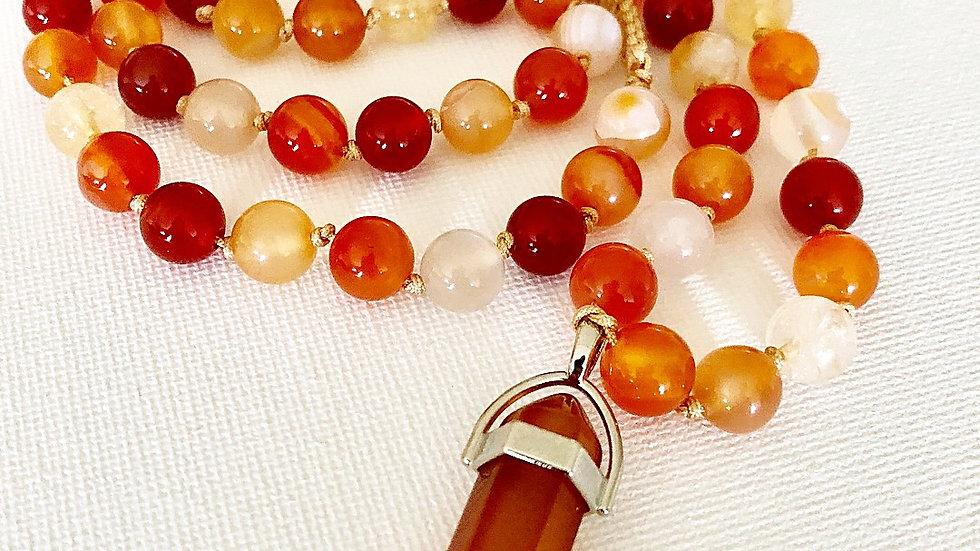 Crystal Healing Mala Necklace Carnelian & Citrine
