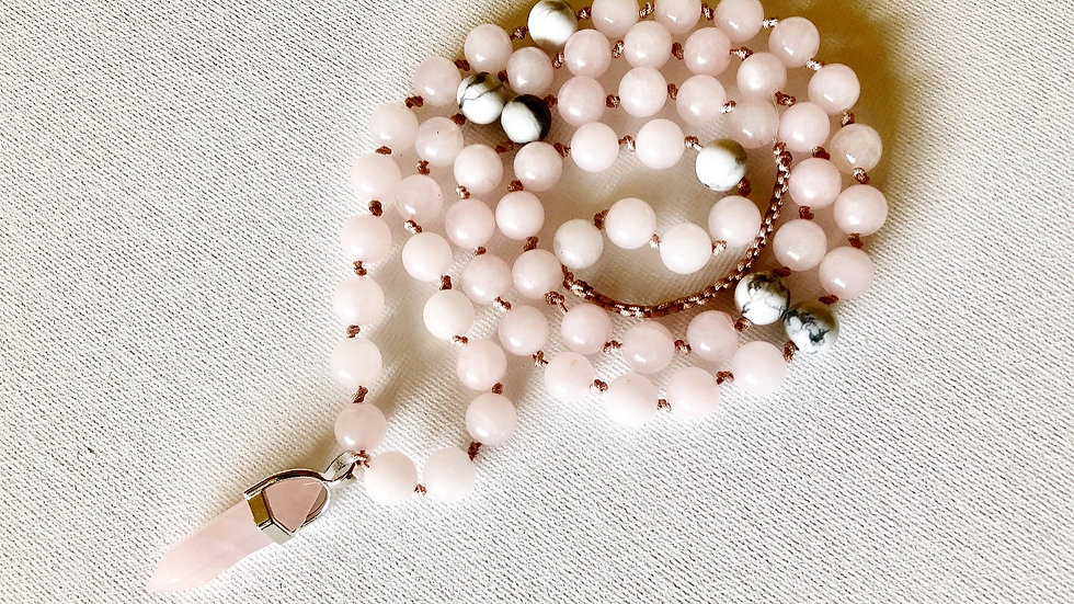 Crystal Healing Mala Necklace Rose Quartz & White Howlite