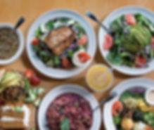 Black Bean Burger, Salmon Salad, Stir Fry, Bean Soup, Raw Platter, Vegan Cake