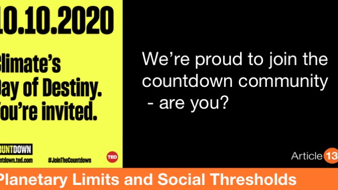 PLANETARY LIMITS AND SOCIAL THRESHOLDS:  WE ARE PROUD TO JOIN THE COUNTDOWN COMMUNITY – ARE YOU?