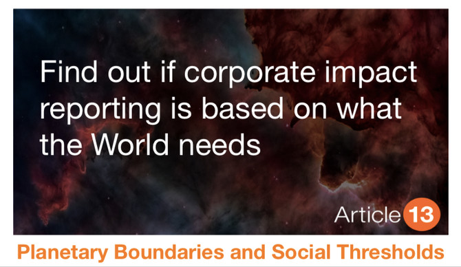Find out if corporate impact reporting is based on what the World needs?