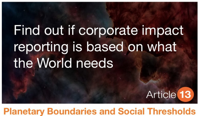 BLOG – JUNE 2020 PLANETARY BOUNDARIES & SOCIAL THRESHOLDS  FIND OUT IF CORPORATE IMPACT REPORTIN