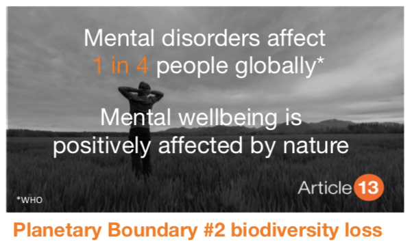 PLANETARY BOUNDARY #2 BIODIVERSITY LOSS: How can we put a value on nature - beyond a provider of res