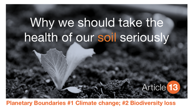 PLANETARY BOUNDARY #1 CLIMATE CHANGE; #2 BIODIVERSITY LOSS:  WHY WE SHOULD TAKE THE HEALTH OF OUR SO