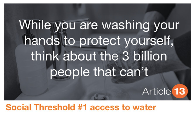 SOCIAL THRESHOLD #1 ACCESS TO WATER: While you are washing your hands to protect yourself, think abo