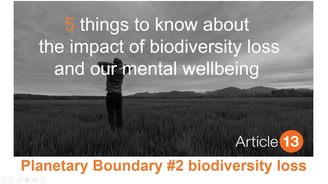 PLANETARY BOUNDARY #2 BIODIVERSITY LOSS: 5 things to know about the impact of biodiversity and our m