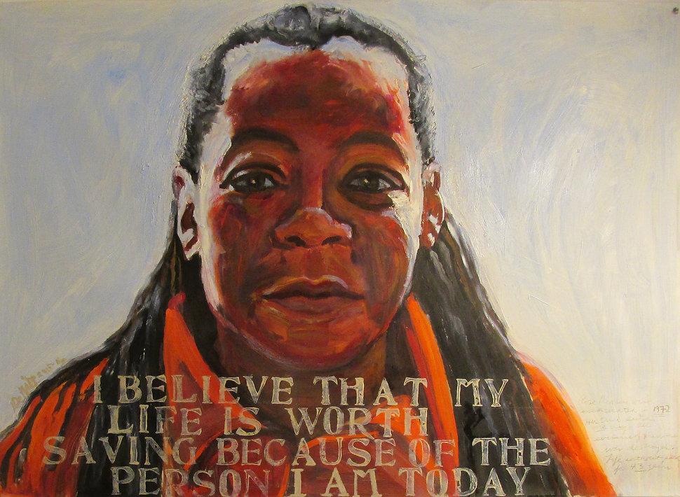 "Rose Dinkins oil, graphite 37""x36"" 2015-"