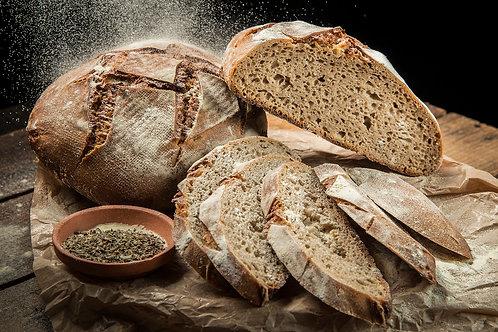 Домашен тъмен пшеничен хляб  с жива закваска 450 г