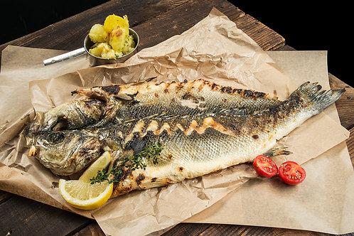 Диво ловен лаврак 1+ на дървени въглища (цяла риба)