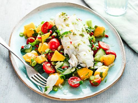 Summer cod with cucumber, avocado and mango