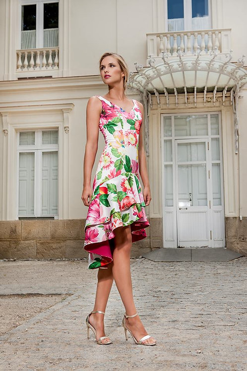 Vestido asimétrico Rosé volantes