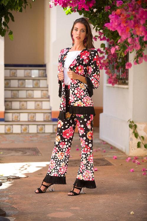 Conjunto Kimono flores y flecos