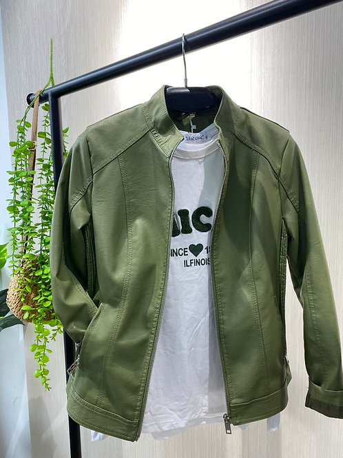 Cazadora piel sintética verde