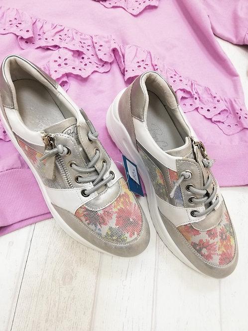 Zapatillas flor plata