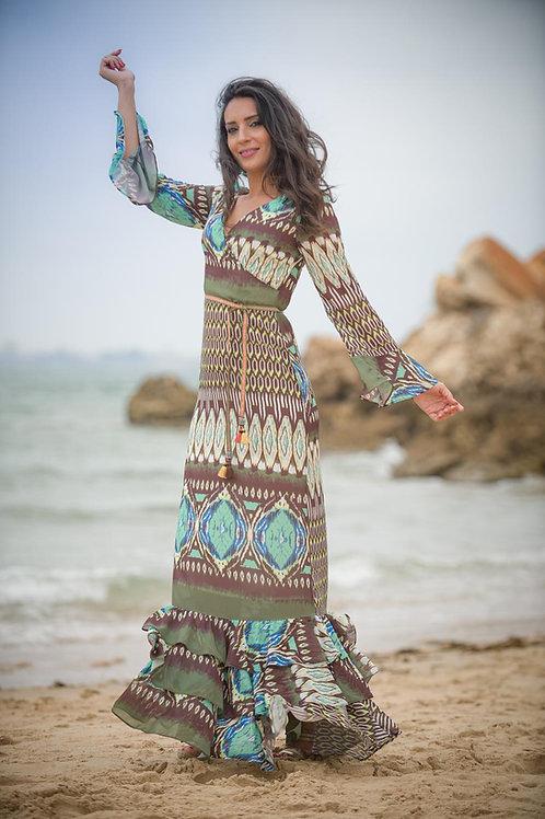 Vestido largo estampado Kahyra