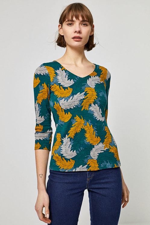 Camiseta Hojas mostaza