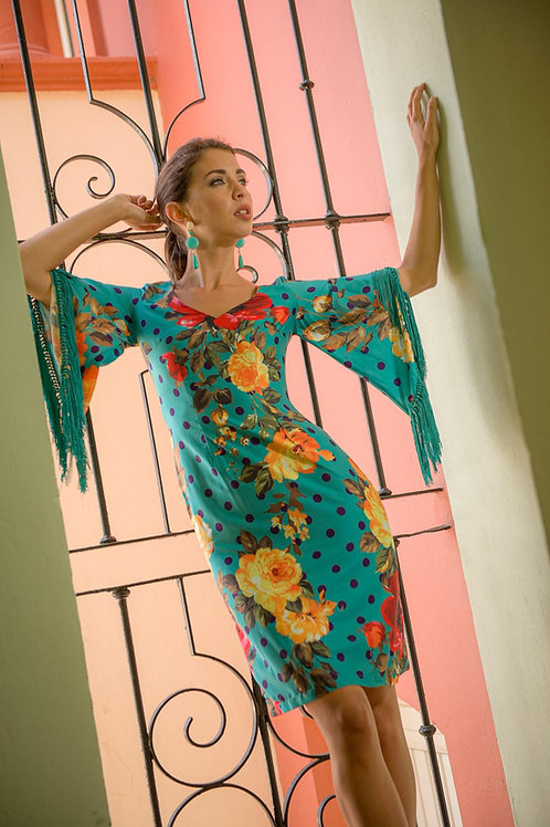 Vestido turquesa flecos