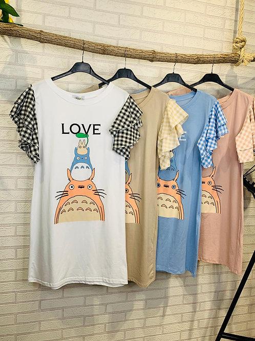 Vestido camiseta mangas vichy