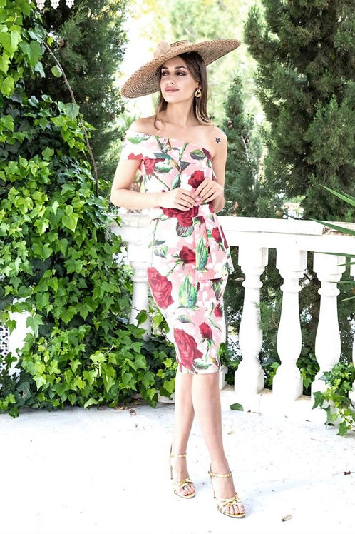 Vestido Coral y Rosas