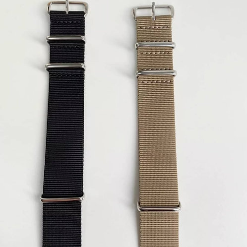 Nato starp and leather straps with aragon 22 mm mess strap ip black metal strap