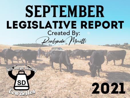 SEPTEMBER 2021 San Diego County Cowbelle Legislative Report