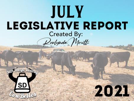 JULY 2021 San Diego County Cowbelle Legislative Report