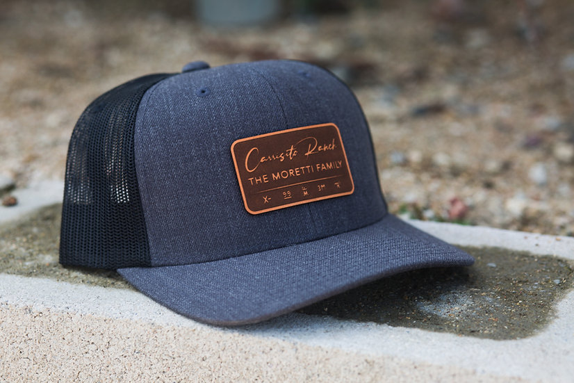 Curved Trucker - Gray with Leather Patch