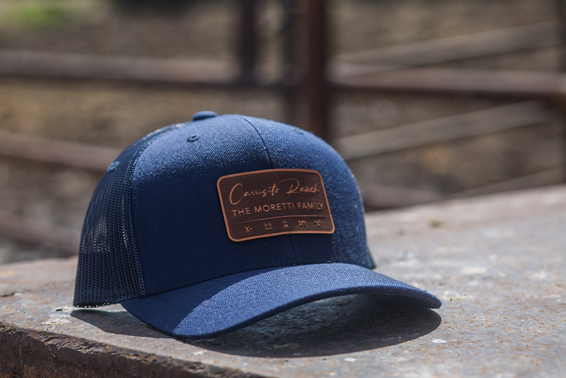 Curved Trucker - Navy with Leather Patch