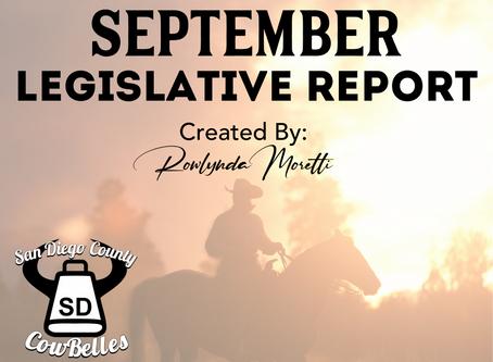 SEPTEMBER 2020 San Diego County Cowbelle Legislative Report