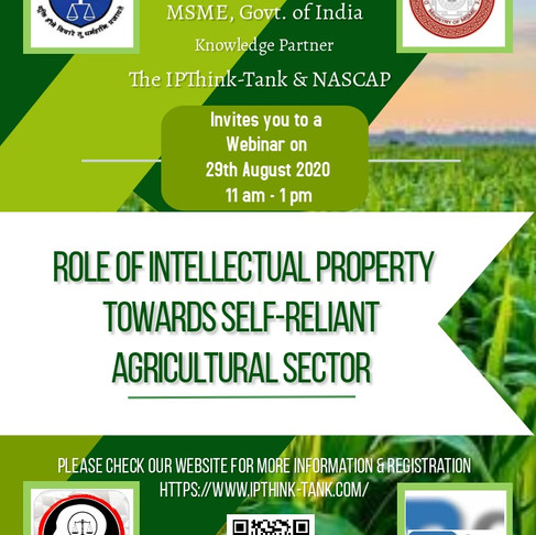 National Webinar on Role of Intellectual Property towards Self-Reliant Agricultural Sector