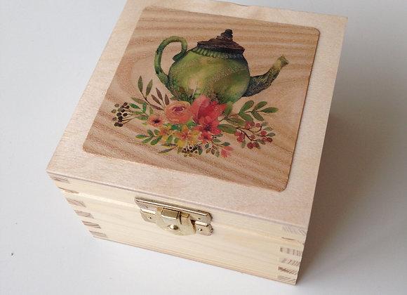 Mini Tea Box - Teapot on Red Oak