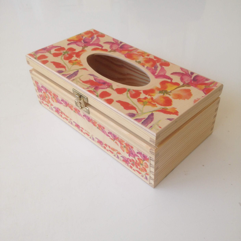 Watercolour floral tissue box