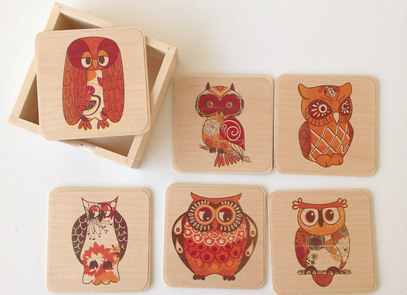 Set of 6 Owl Coasters with box