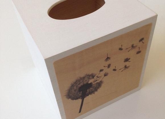 Štvorcová krabička na vreckovky - púpava