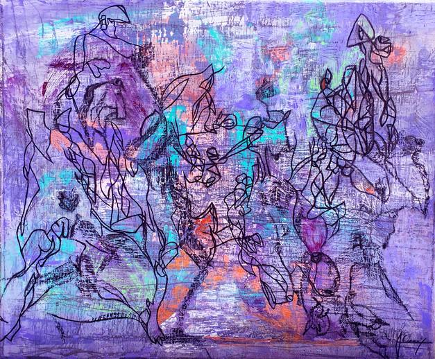 Technique mixte (acrylique, pastel sec, huile) sur toile 45,5 / 55 cm Prix sur demande Prix sur demande