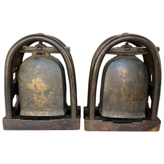 Pair of Antique Bronze Elephant Temple Bells with Gold Gilt Accents