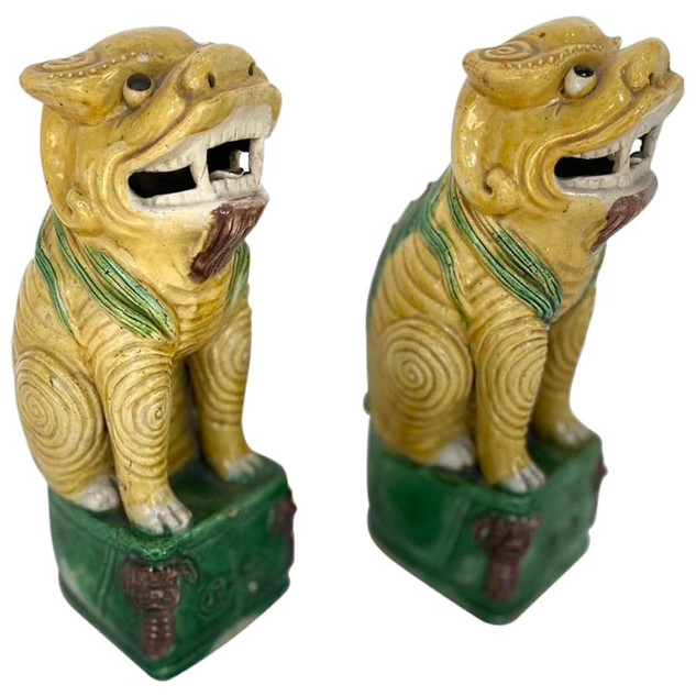 Antique Pair of Chinese Polychrome Ceramic Foo Lions
