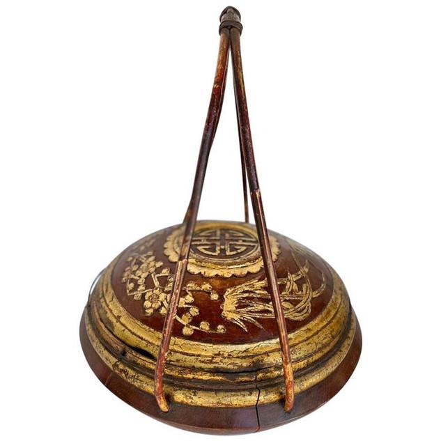 Large Chinese Round Wooden Basket