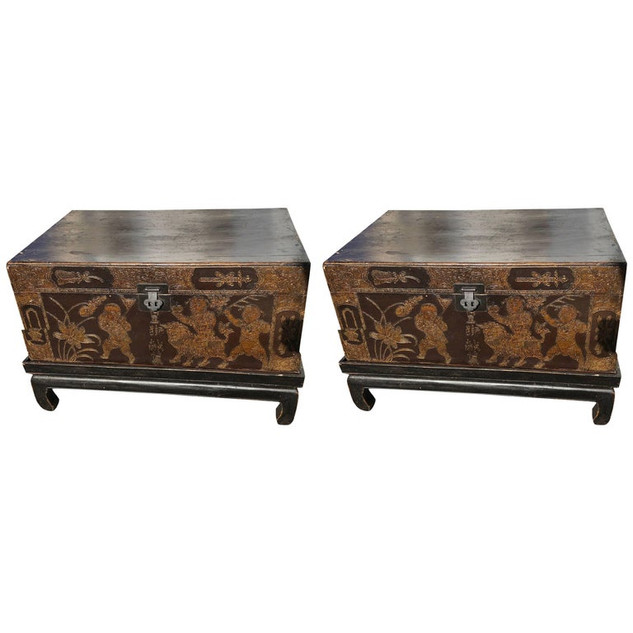 Pair of Chinese Trunks with Stands Tables