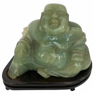 Chinese Jade Buddha on Stand