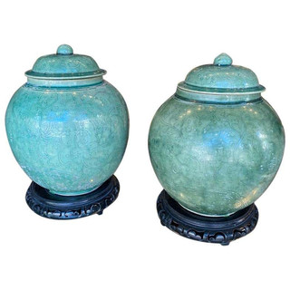 Pair of Chinese Glazed Vessels/Jars with Lids