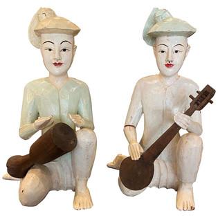 Pair of Antique Wooden Thai Musicians