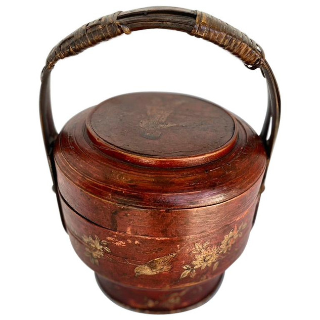 Chinese Red Lacquer Food Box with Lid