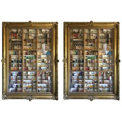 Pair of Showcases  w/ mini perfume containers