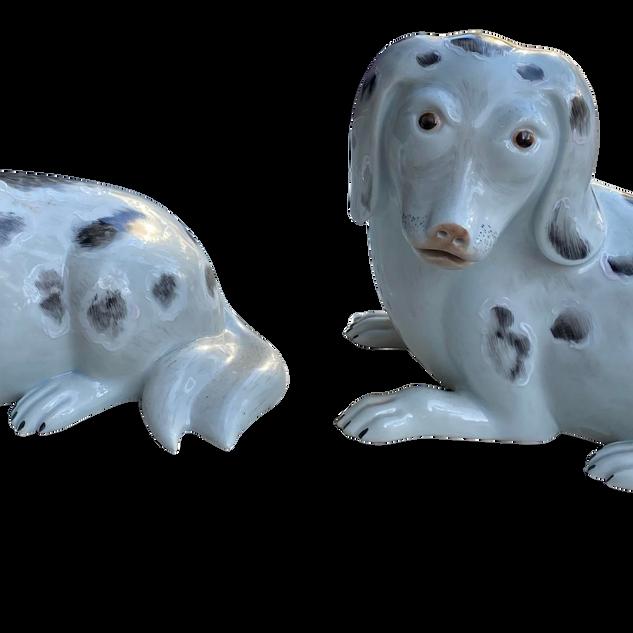 Rockefeller Spanish Porcelain Dog Figurines - a Pair