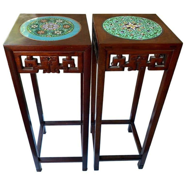 Chinese PAIR Wooden Tall Plant Stands