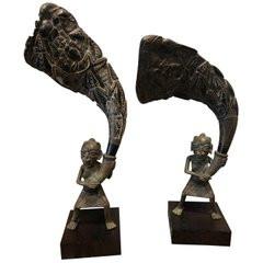 Pair of African Bronze Bamileke Cameroon Statues