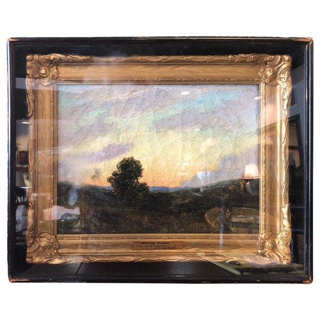 """Painting by White J. F. Earhart Near the White Water """"Glowing Sunset"""""""