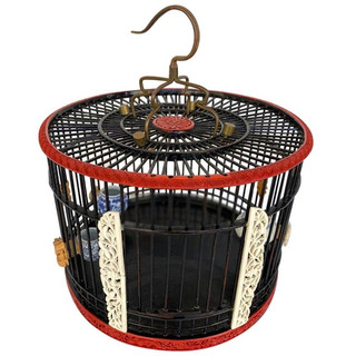 Chinese Antique Red Lacquer Birdcage