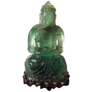 Chinese Green Mineral Fluorite Buddha with Rosewood Stand